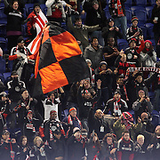 D.C. United fans celebrate their sides win after the final whistle during the New York Red Bulls V D.C. United Major League Soccer, Eastern Conference Semi Final 2nd Leg match at Red Bull Arena, Harrison. New Jersey. USA. 8th November 2012. Photo Tim Clayton