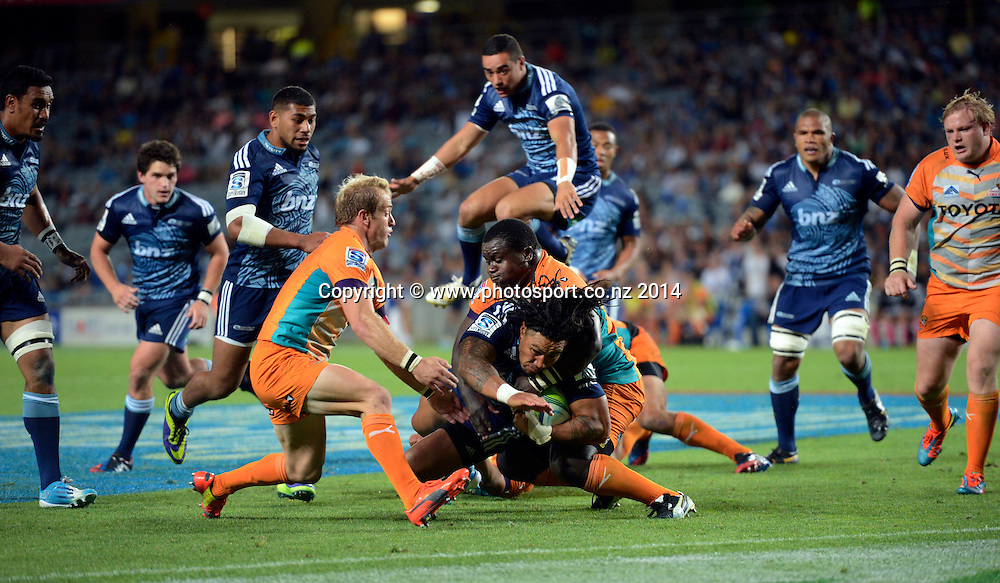 Ma'a Nonu. Blues v Cheetahs. Investec Super Rugby Season. Eden Park, Auckland, New Zealand. Saturday 22 March 2014. Photo: Andrew Cornaga/Photosport.co.nz