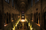 France. Paris. Notre Dame cathedral. inside Notre dame cathedral, view from the orgue gallery