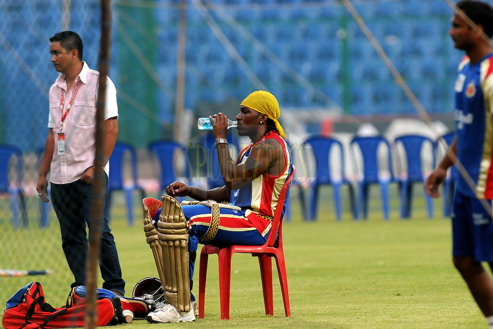 Chris Gayle of Royal Challengers Bangalore during the Royal Challengers bangalore training and nets session held at the  M.Chinnaswamy Stadium in Bangalore , Karnataka, India on the 22nd September 2011..Photo by Pal Pillai/BCCI/SPORTZPICS