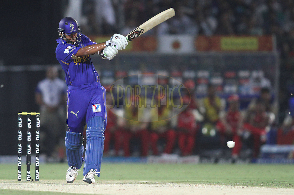 Rajasthan Royals captain Rahul Dravid pulls a delivery during match 30 of the the Indian Premier League (IPL) 2012  between The Rajasthan Royals and the Royal Challengers Bangalore held at the Sawai Mansingh Stadium in Jaipur on the 23rd April 2012..Photo by Shaun Roy/IPL/SPORTZPICS