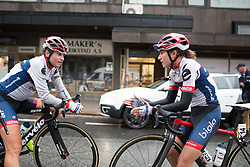 Gabriele Pilote-Fortin (CAN) and Clara Koppenburg (GER) of Cervélo-Bigla Cycling Team discuss the 76,1 km first stage of the 2016 Ladies' Tour of Norway women's road cycling race on August 12, 2016 between Halden and Fredrikstad, Norway. (Photo by Balint Hamvas/Velofocus)