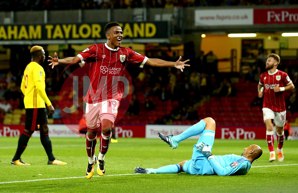 Niclas Eliasson of Bristol City celebrates scoring a goal to make it 3-1 - Mandatory by-line: Robbie Stephenson/JMP - 22/08/2017 - FOOTBALL - Vicarage Road - Watford, England - Watford v Bristol City - Carabao Cup
