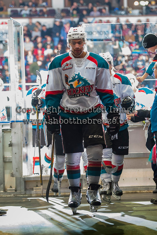 KELOWNA, CANADA - JANUARY 7: Devante Stephens #21 of the Kelowna Rockets exits the ice for the dressing room against the Kamloops Blazers on January 7, 2017 at Prospera Place in Kelowna, British Columbia, Canada.  (Photo by Marissa Baecker/Shoot the Breeze)  *** Local Caption ***