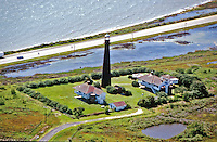Aerial view of Bolivar Point Lighthouse, located on the eastern side of the entrance to Galveston Bay, Texas