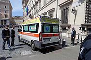 Roma 28 Aprile 2013.Un ambulanza arriva sul luogo della sparatoria davanti Palazzo Chigi dove sono stati feriti due carabineri da un uomo poi arrestato.