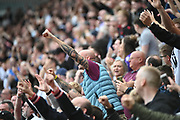 The Bolton Wanderers fans cheer on their team after scoring their first goal during the EFL Sky Bet League 1 match between Rotherham United and Bolton Wanderers at the AESSEAL New York Stadium, Rotherham, England on 14 September 2019.