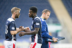 Falkirk's Rory Loy and Botti Biabi.<br /> Falkirk beat Cowdenbeath in a penalty shoot-out, second round League Cup tie played at The Falkirk Stadium.