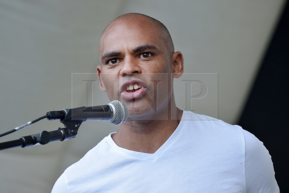 © Licensed to London News Pictures.  09/09/2017; Bristol, UK. MARVIN REES at the Bristol March Against Austerity. Bristol's elected Mayor Marvin Rees and Bristol People's Assembly have called a march and rally against the severe cuts in local government funding that Bristol City Council is facing from central government. A coalition of organisations, led by Bristol People's Assembly, have come together to send a powerful message to the Conservative Government to give Bristol and other cities the funding need to keep vital public services. Mayor Rees will take part in a delegation of core UK cities to lobby the Government on Tuesday 12 September.<br /> Speakers at the Bristol rally include Owen Jones. Picture credit : Simon Chapman/LNP