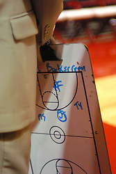01 January 2006..Saluki coach Chris Lowery holds the white board containing the opening play while waiting for the National Anthem to start...The Southern Illinois Saluki's chewed up the Illinois State Redbirds with 37 points in the 2nd half to beat the birds with a final score of 65-52.  An audience of just over 7500 watched the in Redbird Arena on the campus of Illinois State University in Normal Illinois.....