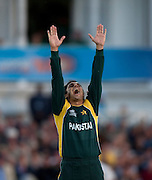 Bowler Saeed Ajmal celebrates having Jacques Kallis caught during the ICC World Twenty20 Cup semi-final between South Africa and Pakistan at Trent Bridge. Photo © Graham Morris (Tel: +44(0)20 8969 4192 Email: sales@cricketpix.com)