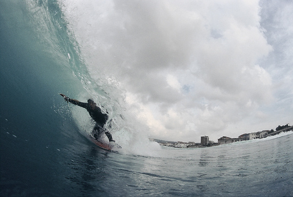 Andrea Cannavò inside a pipe, in his home spot Killer point. Winter swell, Tuscany.