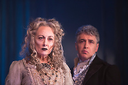 "© Licensed to London News Pictures. 04/02/2013. London, England. Paula Wilcox as Miss Havisham and Paul Nivison as Adult Pip. A new stage adaptation of Charles Dickens's ""Great Expecations"" will open at the Vaudeville Theatre, London, on Wednesday, 6 February 2013. It is the first ever full-scale stage play of Great Expectations in either the West End or on Broadway. Adaptation by Jo Clifford, directed by Graham McLaren. Photo credit: Bettina Strenske/LNP"