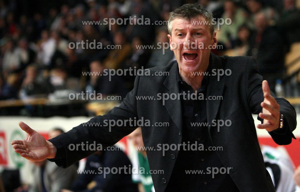 Coach of Zlatorog Lasko Damjan Novakovic at basketball game Zlatorog Lasko - Krka in in the first match of quarter-final of Spar Cup, on February 7, 2008 in Ljubljana, Slovenia.   (Photo by Vid Ponikvar / Sportal Images).