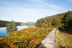 Langsett Reservoir on the Edge of the Peak District Shot from the south East side of the dam looking East toward Midhope Cliff Lane and the dam wall<br />