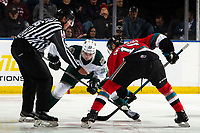 KELOWNA, BC - SEPTEMBER 28: Linesman Riley Balson drops the puck between Gage Goncalves #39 of the Everett Silvertips and Alex Swetlikoff #17 of the Kelowna Rockets   at Prospera Place on September 28, 2019 in Kelowna, Canada. (Photo by Marissa Baecker/Shoot the Breeze)