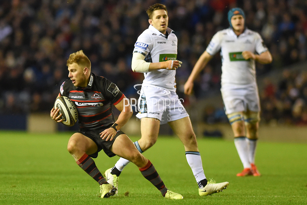 Duhan van der Merwe on the ball during the Guinness Pro 14 2017_18 match between Edinburgh Rugby and Glasgow Warriors at Murrayfield, Edinburgh, Scotland on 23 December 2017. Photo by Kevin Murray.