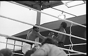 Ali vs Lewis Fight, Croke Park,Dublin..1972..19.07.1972..07.19.1972..19th July 1972..As part of his built up for a World Championship attempt against the current champion, 'Smokin' Joe Frazier,Muhammad Ali fought Al 'Blue' Lewis at Croke Park,Dublin,Ireland. Muhammad Ali won the fight with a TKO when the fight was stopped in the eleventh round...Image of Ali as he rocks Lewis with a right cross.