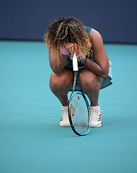 March 23, 2019 - Miami Gardens, Florida, United States Of America - MIAMI GARDENS, FLORIDA - MARCH 23:  Naomi Osaka Day 6 of the Miami Open Presented by Itau at Hard Rock Stadium. Japan's world number one Naomi Osaka was sent spinning to a crushing loss when Taiwan's 27th seeded Hsieh Su-wei defeated her in three absorbing sets at the Miami Open on Saturday on March 23, 2019 in Miami Gardens, Florida..People: Naomi Osaka. (Credit Image: © SMG via ZUMA Wire)