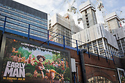 High-rise towers on the Southbank and an ad for the new Aardman Animation's new release Early Man, on 30th January 2018, in the south London borough of Southwark, England.