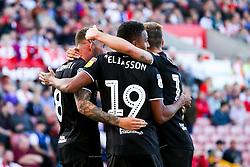 Niclas Eliasson of Bristol City celebrates with his teammates after a Stoke City own goal to make it 1-2 - Rogan/JMP - 14/09/2019 - Bet365 Stadium - Stoke, England - Stoke City v Bristol City - Sky Bet Championship.
