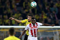 DORTMUND, Sept. 18, 2017  Papastathopoulos Sokratis (top) of Borussia Dortmund and Jon Cordoba of 1.FC Cologne vie for the ball during the Bundesliga soccer match between Borussia Dortmund and 1.FC Cologne at the Signal Iduna Park in Dortmund, Germany on Sept. 17, 2017. Borussia Dortmund won 5-0. (Credit Image: © Joachim Bywaletz/Xinhua via ZUMA Wire)