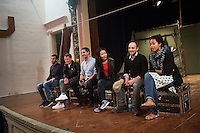 SLIEMA, MALTA - 8 FEBRUARY 2016: Actors of Shakespeare's Globe theatre company answer questions from the Maltese audience during a Q&A session, after performing the touring Hamlet at the Salesian Theatre in Sliema, Malta, on February 8th 2016.<br /> <br /> The touring Hamlet, performed by the Shakespeare's Globe theatre company, is part of the Globe to Globe tour that set off in April 2014 (on the 450th anniversary of Shakespeare's birth) with the ambitious intention of visiting every country in the world over 2 years. The crew is composed of a total of sixteen men and women: four stage managers and twelve twelve actors  actors perform over two dozen parts on a stripped-down wooden stage. So far Hamlet has been performed in over 150 countries, to more than 100,000 people and travelled over 150,000 miles. The tour was granted UNESCO patronage for its engagement with local communities and its promotion of cultural education. Hamlet was also played for many dsiplaced people around the world. It was performed in the Zaatari camp on the border between Syria and Jordan, for Central African Republic refugees in Cameroon, and for Yemeni people in Djibouti. On February 3rd it was performed to about 300 refugees in Calais at the camp known as the Jungle.