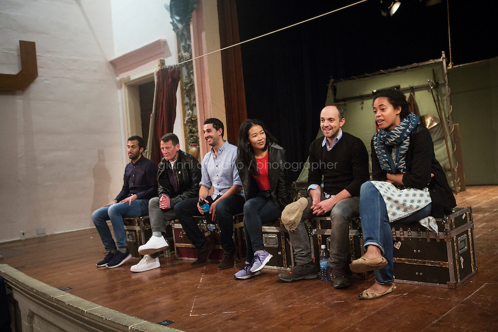 SLIEMA, MALTA - 8 FEBRUARY 2016: Actors of Shakespeare's Globe theatre company answer questions from the Maltese audience during a Q&amp;A session, after performing the touring Hamlet at the Salesian Theatre in Sliema, Malta, on February 8th 2016.<br /> <br /> The touring Hamlet, performed by the Shakespeare's Globe theatre company, is part of the Globe to Globe tour that set off in April 2014 (on the 450th anniversary of Shakespeare's birth) with the ambitious intention of visiting every country in the world over 2 years. The crew is composed of a total of sixteen men and women: four stage managers and twelve twelve actors  actors perform over two dozen parts on a stripped-down wooden stage. So far Hamlet has been performed in over 150 countries, to more than 100,000 people and travelled over 150,000 miles. The tour was granted UNESCO patronage for its engagement with local communities and its promotion of cultural education. Hamlet was also played for many dsiplaced people around the world. It was performed in the Zaatari camp on the border between Syria and Jordan, for Central African Republic refugees in Cameroon, and for Yemeni people in Djibouti. On February 3rd it was performed to about 300 refugees in Calais at the camp known as the Jungle.