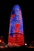 Agbar tower ligth facade, Barcelona city, Catalunya community,Spain
