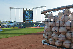 Sep 20, 2014; Kansas City, MO, USA; A general view of the stadium and practice baseballs before the game between the Kansas City Royals and Detroit Tigers at Kauffman Stadium. Mandatory Credit: Denny Medley-USA TODAY Sports