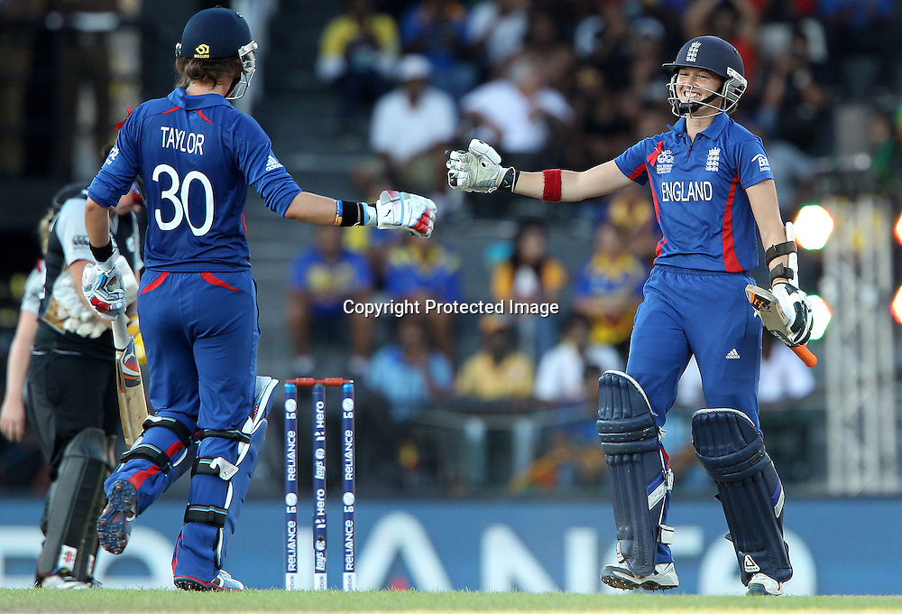 Sarah Taylor of England and Arran Brindle of England celebrate the win for England during the ICC Women's World Twenty20 Semi final match between England and New Zealand held at the Premadasa Stadium in Colombo, Sri Lanka on the 4th October  2012<br /> <br /> Photo by Ron Gaunt/SPORTZPICS/PHOTOSPORT