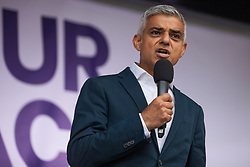 London, UK. 4 September, 2019. Mayor of London Sadiq Khan addresses Remain supporters at a Defend Our Democracy rally in Parliament Square shortly after MPs passed the Brexit delay bill in the House of Commons.