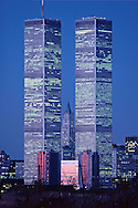 NYC, NY, World Trade Center and Woolworth Building designed by Cass Gilbert, Twin Towers, designed by Minoru Yamasaki, International Style II