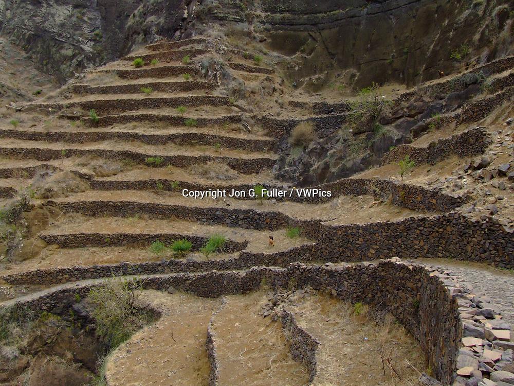 Rock terraces near Fontainhas, Santo Antao, Republic of Cabo Verde, Africa.