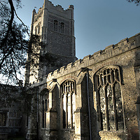 Exterior view of Eye church in evening sunlight Suffolk England