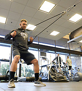 GLENDALE, ARIZONA - FEBRUARY 20:  Yoan Moncada #10 of the Chicago White Sox works out in the weight room during spring training on February 20, 2018 at Camelback Ranch in Glendale Arizona.  (Photo by Ron Vesely)  Subject:   Yoan Moncada