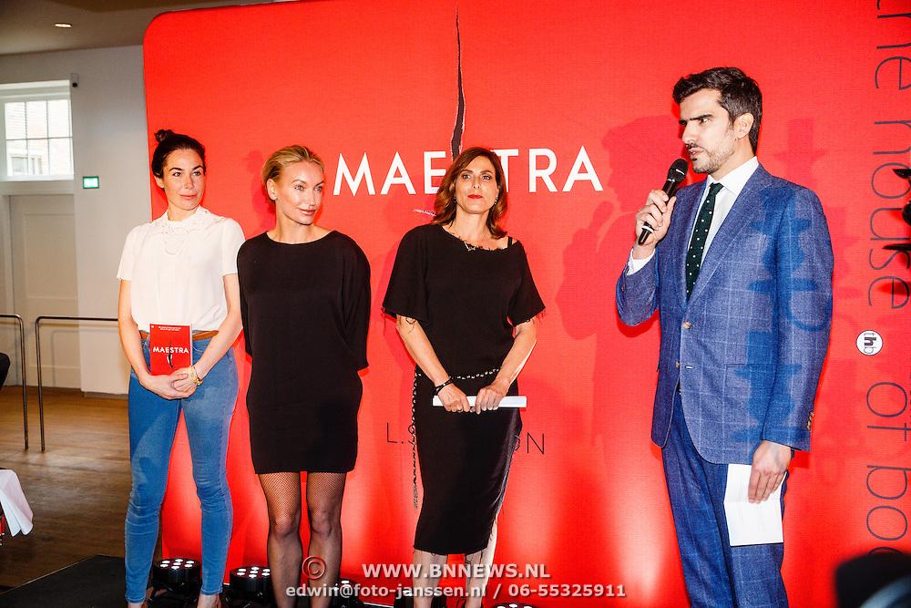 NLD//Amsterdam/20160422 - Boekpresentatie Maestra, Halina Reijn, schrijfster Lisa Hilton en Heleen van Royen