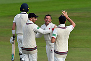 Wicket - Roelof van der Merwe of Somerset celebrates taking the wicket of James Harris of Middlesex during the Specsavers County Champ Div 1 match between Somerset County Cricket Club and Middlesex County Cricket Club at the Cooper Associates County Ground, Taunton, United Kingdom on 28 September 2017. Photo by Graham Hunt.