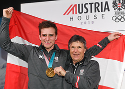 16.02.2018, Austria House, Pyeongchang, KOR, PyeongChang 2018, Medaillenfeier, im Bild Matthias Mayer und Peter Schröcksnadel // during a medal celebration of the Pyeongchang 2018 Winter Olympic Games at the Austria House in Pyeongchang, South Korea on 2018/02/16. EXPA Pictures © 2018, PhotoCredit: EXPA/ Erich Spiess