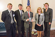Left to right:  George Weiner, MD, Bill Dalton, MD, Rep. Chuck Fleischmann, Julie Vose, MD, President of ASCO,  and Nancy E. Davidson, President of American Association for Cancer Research, at right, during the Hill Day reception held at Rayburn House Office Building in Washington, DC, on Wednesday, May 11, 2016. The American Association for Cancer Research (AACR), the Association of American Cancer Institutes (AACI), and the American Society of Clinical Oncology (ASCO) honored U.S. Representatives Kathy Castor (D-Fla.) and Chuck Fleischmann (R-Tenn.) for their outstanding leadership on behalf of cancer research during the reception. (Alan Lessig/)