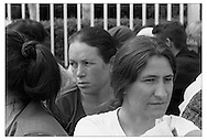 Pristina, Kosovo.June 2002.Families of the missing protest against the lack of information about their relatives outside the parliament building. There is not much information to be had, and communications between the many groups involved in the search for the missing is poor.