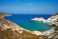 Grece, Cyclades, ile de Milos, plage et port de Firopotamos // Greece, Cyclades islands, Milos, Firopotamos port and beach