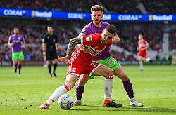 Muhamed Besic of Middlesbrough holds off Matty Taylor of Bristol City - Mandatory by-line: Matt McNulty/JMP - 14/04/2018 - FOOTBALL - Riverside Stadium - Middlesbrough, England - Middlesbrough v Bristol City - Sky Bet Championship