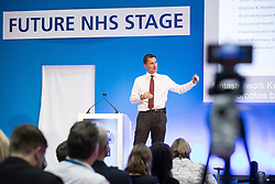 © Licensed to London News Pictures . 12/09/2017. Manchester , UK . Health Secretary JEREMY HUNT speaks on the stage at the Health and Care Innovation Expo at Manchester Central Convention Centre . Photo credit: Joel Goodman/LNP