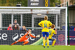 Sophie Baggaley of Bristol City saves a penalty from Aoife Mannion of Birmingham City Women - Mandatory by-line: Ryan Hiscott/JMP - 14/10/2018 - FOOTBALL - Stoke Gifford Stadium - Bristol, England - Bristol City Women v Birmingham City Women - FA Women's Super League 1