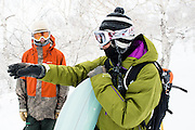 Gerry Lopez explains the finer points of riding Japanese powder to Alex Yoder atop T.T. Gully, named for gentemstick legend Taro Tamai. A great last run of the day came next as a storm moved in.