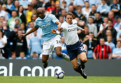 01.05.2010, City of Manchester Stadium, Manchester, ENG, PL, Manchester City vs Aston Villa im Bild Patrick Vieira of Manchester City in action with Stephen Warnock of Aston Villa, EXPA Pictures © 2010, PhotoCredit EXPA/ Marc Atkins / SPORTIDA PHOTO AGENCY