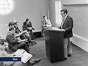 Dr. Carl Diemer conducts class in the upstairs lobby of the original Thomas Road Baptist Church in January, 1975.