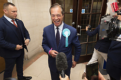 May 26, 2019 - London, London, UK - London, UK. British Brexit party leader Nigel Farage arrives at the O2 Guildhall venue for the European Parliament results in Southampton, Britain, on May. 26, 2019.  The Brexit Party is expected to do very well in the elections. (Credit Image: © Ray Tang/London News Pictures via ZUMA Wire)