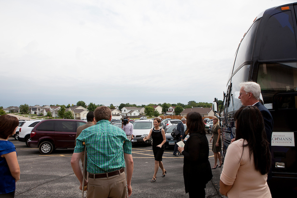 Republican presidential hopeful Michele Bachmann arrives for a campaign stop at New Life church on Sunday, July 24, 2011 in Marion, IA.